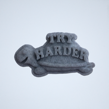 Load image into Gallery viewer, A gray Try Harder 3D sticker by Styklet.