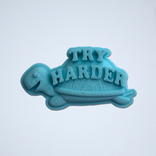 Load image into Gallery viewer, A turquoise Try Harder 3D sticker by Styklet.