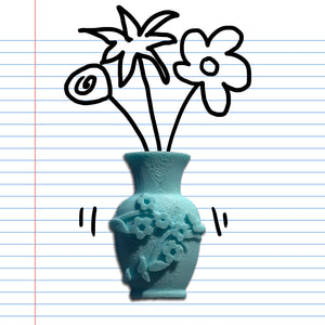 A turquoise flower vase sticker in turquoise, with doodles on binder paper.