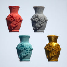 Load image into Gallery viewer, 4 vase stickers with flower details in coral, grey, turquoise, and gold from Styklet.