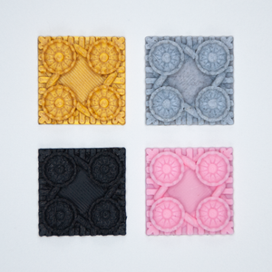 A set of four Victorian Blossom 3D stickers in gold, gray, black, and pink.