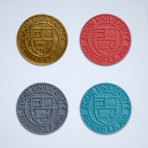 A set of four Zoom University stickers in gold, coral, gray and turquoise.