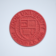 Load image into Gallery viewer, A coral Zoom University 3D sticker by Styklet.