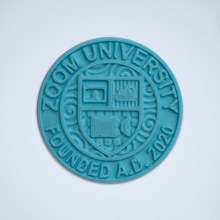 Load image into Gallery viewer, A turquoise Zoom University 3D sticker by Styklet.
