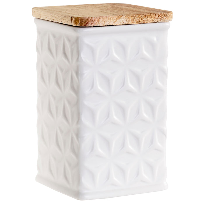 Swan Creek Highly Scented Pillar Candle in Square Ceramic Canister with Lid, White Collection – Assorted Patterns – Sparkling Apple Cider, 13 oz.