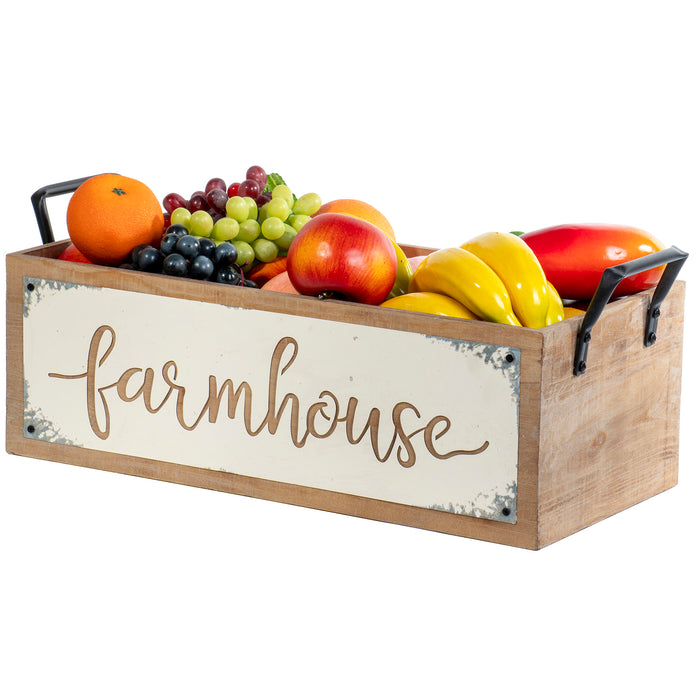 "Red Co. Decorative Country Farmhouse Wooden Storage Crate with Calligraphy Cutout and Metal Handles - 18"" L x 9.25"" W"