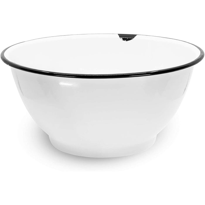 Red Co. Enamelware Large Classic 4 quart Round Salad Serving Bowl, Distressed White/Black Rim - Set of 2