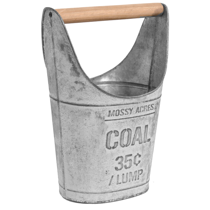 Red Co. Farmhouse Rustic Storage Coal Bucket with Wooden Handle in Whitewash Gray Finish, Large