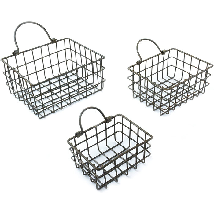 Red Co. Country Style Rectangular Metal Wire Baskets, Set of 3