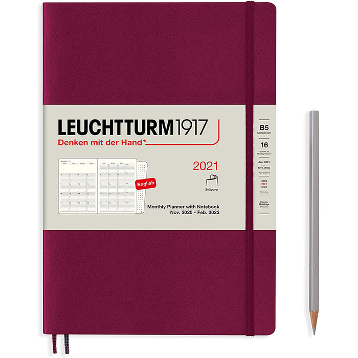 Leuchtturm1917 Monthly Planner & Notebook Composition (B5) 2021, with Extra Booklet, English