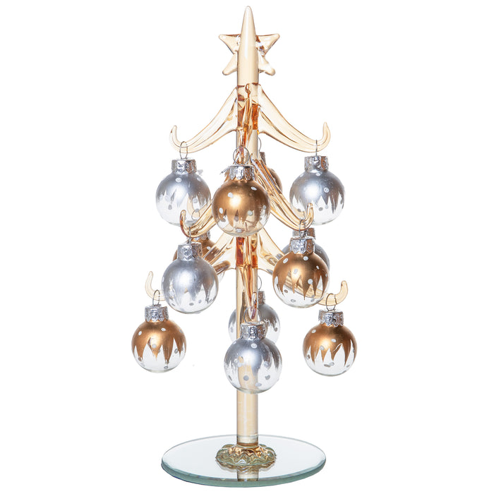 Mini Glass Christmas Tree, Small Table Top Holiday Season Décor with Removable Sphere Ornaments, Silver & Gold Champagne, 8 Inches