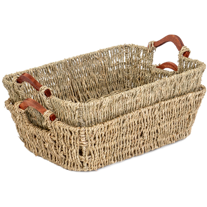Red Co. Multi-Purpose Seagrass Basket Tray with Wooden Handle Set of 2, Storage Containers, Home Organizers