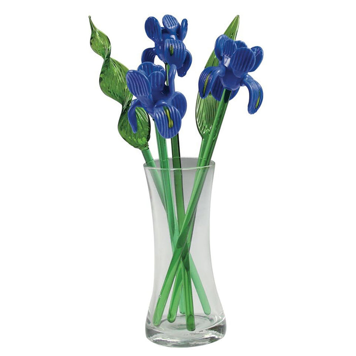 Red Co. Crystal Glass Spring Flower Bouquet with Vase, Gift Boxed - Irises