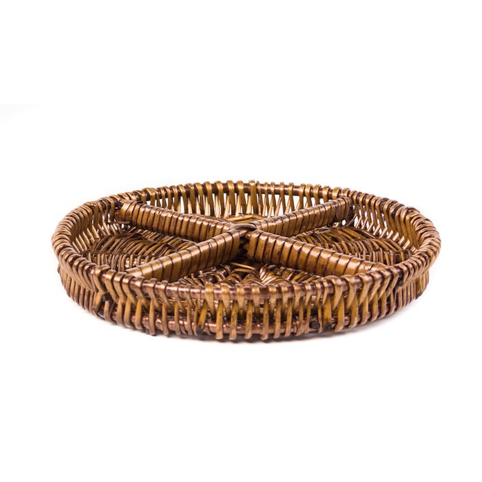 Red Co. Round Natural Willow Snack Basket Tray Organizer in Dark Caramel Brown - 10 Inches