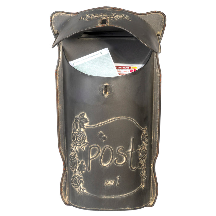 Distressed Black Post Box, Vintage Inspired Shabby Chic Metal Mailbox, Wall Mounted Design, 9 x 17 Inches
