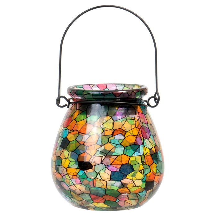 Red Co. Lovely Little Solar Light Glass Lantern with Kaleidoscope, Small 4 Inches
