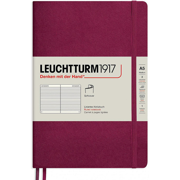 Leuchtturm1917 A5 Medium Softcover Notebook with 123 Lined Pages — Port Red