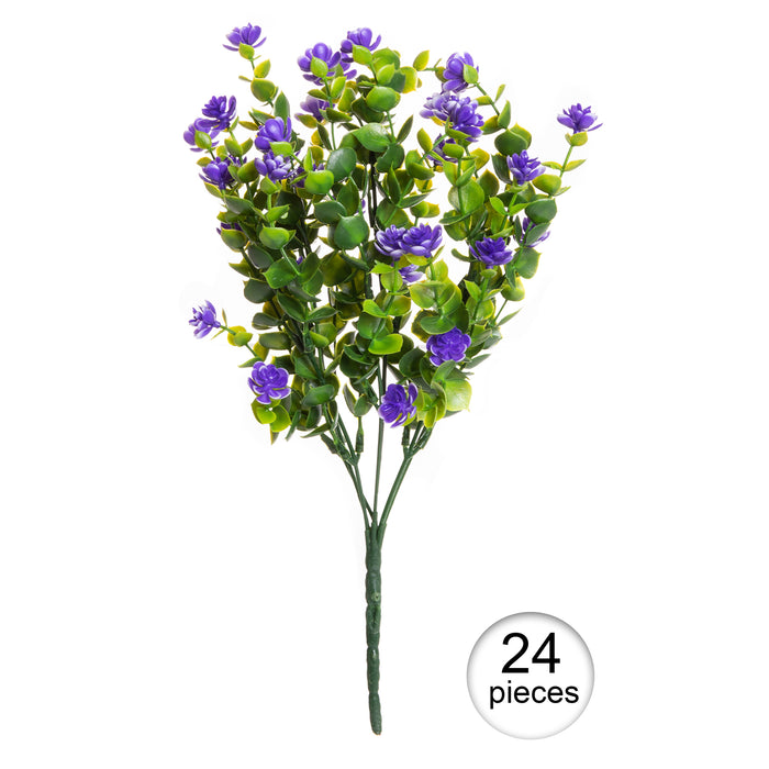 Faux Floral Bouquet, Artificial Fake Greenery Flowers for Home and Outdoor Garden Decor, Set of 4 Bunches (6 Picks Each), Spring Purple