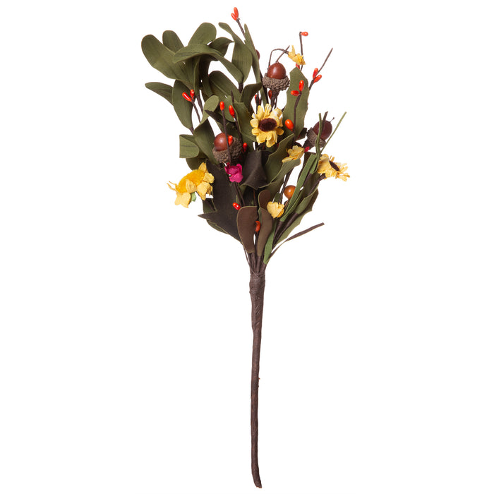 Red Co. Artificial Mixed Fall Floral Pick, Decorative Faux Flower Arrangements for Home & Garden Décor, Single Piece, 14 Inches