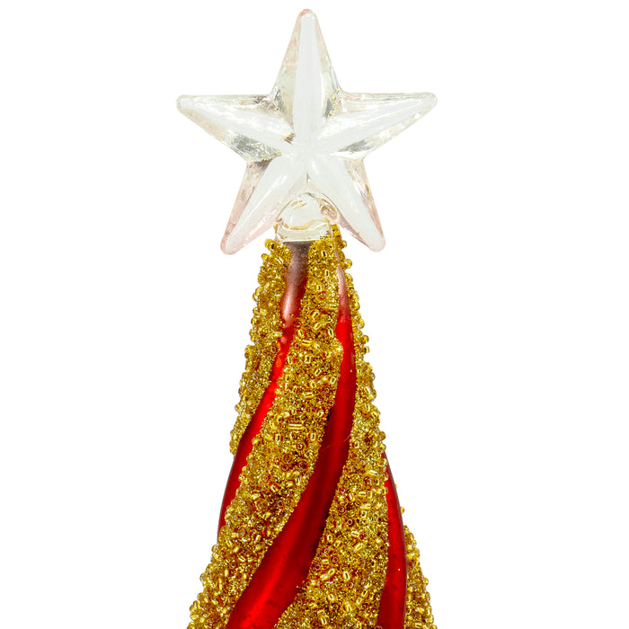 Red Co. Glass Christmas Tree Figurine Ornaments, Festive Gold and Red Light-Up Holiday Season Decor, 11-inch, 9.5-inch, 8-inch, Set of 3