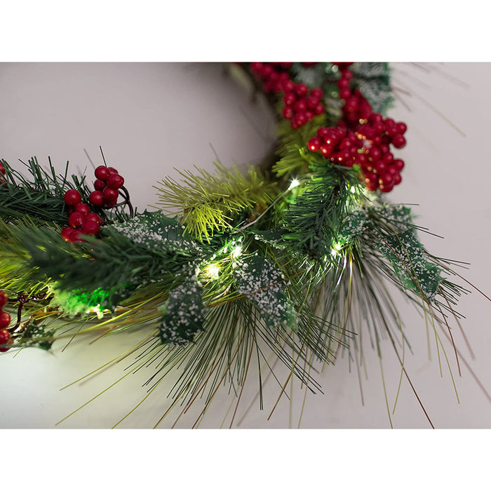 Red Co. Christmas Lights Decor Artificial Wreath with Cranberries - Automatic Timer 6 & 18 Hours - 22 Inches
