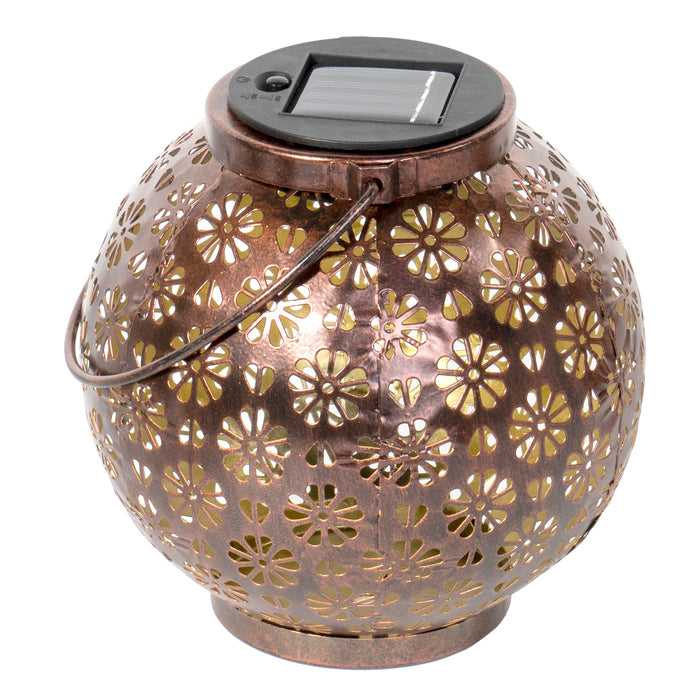 Solar Hanging LED Light Metal Waterproof Lantern - Vintage Decorative Table Lamp for Garden Yard or Patio, Bronze Floral Pattern