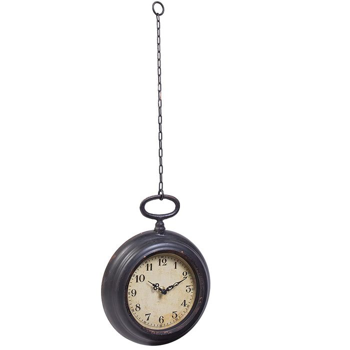 Vintage Pocket Watch Inspired Wall Clock with Chain, Round - Small