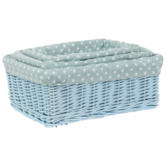 Red Co. Multi-Purpose Rectangular Nesting Blue Basket Set of 3, Storage Containers, Home Organizers