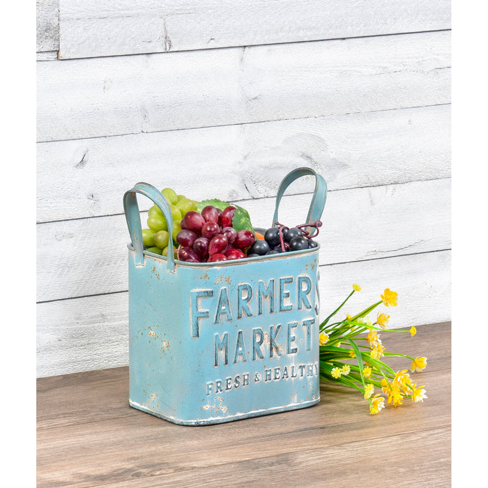 Red Co. Blue Farmers Market Container with Handles Metal Can Home and Garden Organizer