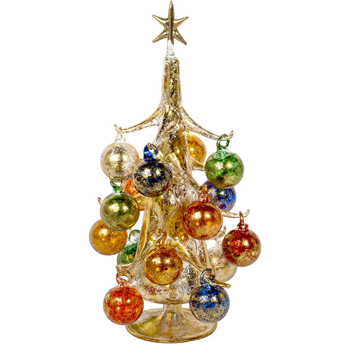 20cm Oro Multicolore Vintage Inspired Mini Glass Christmas Tree with 12 Removable Ornaments, BUON Natale Series