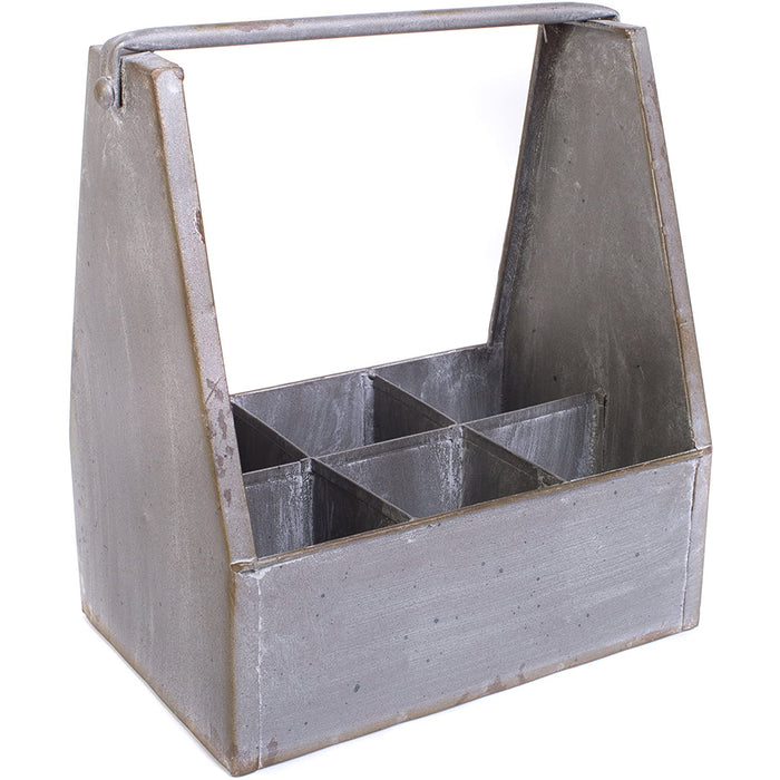 Galvanized Metal Bottled Soda or Beer Carrier Caddy with 6 Slots
