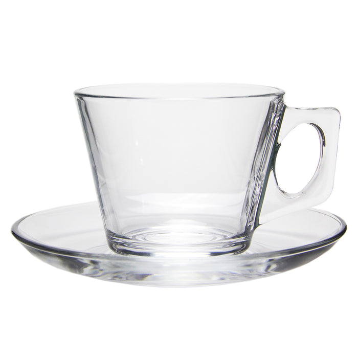 Traditional Clear Glass Tea Cups with Matching Saucers, 6 cups + 6 saucers (12 pcs set)