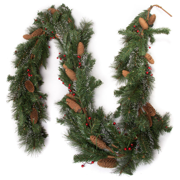 "9 Ft Light-Up Christmas Garland with Pine & Red Cranberries, Plug-in Operated LED Lights, 108"" x 10"""