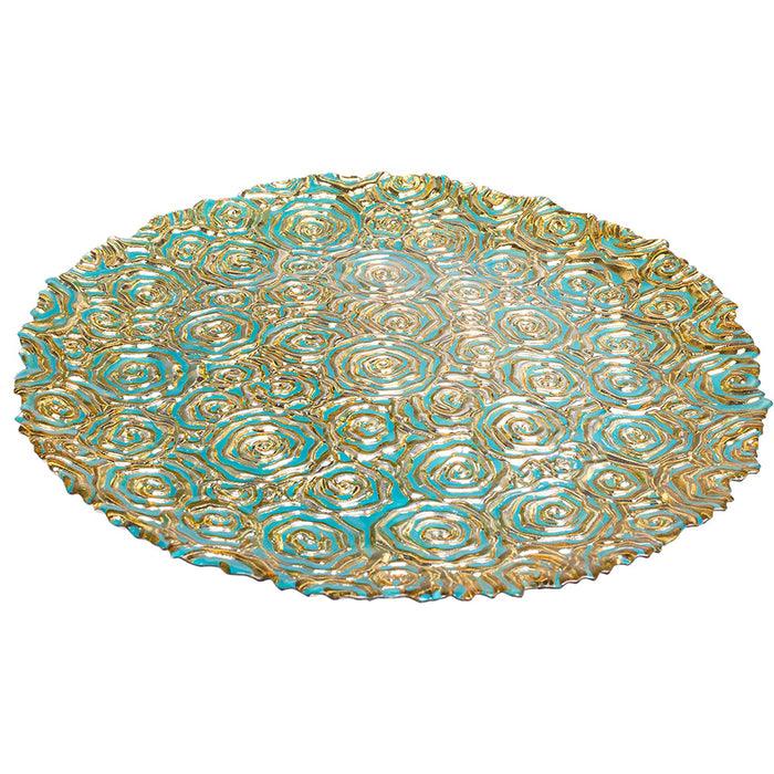 Red Co. Turquoise Centerpiece Round Serving Platter Tray Catch-All Dish with Gold Vines Floral Pattern - 11 Inches Food Safe for Dining Living Room Home Décor Fruit Holder