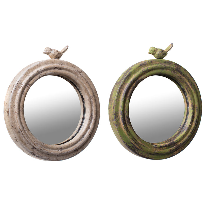 Cottage Chic Metal Round Mirror with Bird in Rustic Green and Cream - 8 Inches, Set of 2