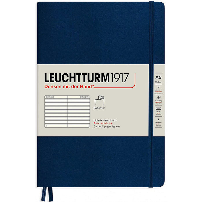 Leuchtturm1917 A5 Medium Softcover Notebook with 123 Lined Pages — Navy