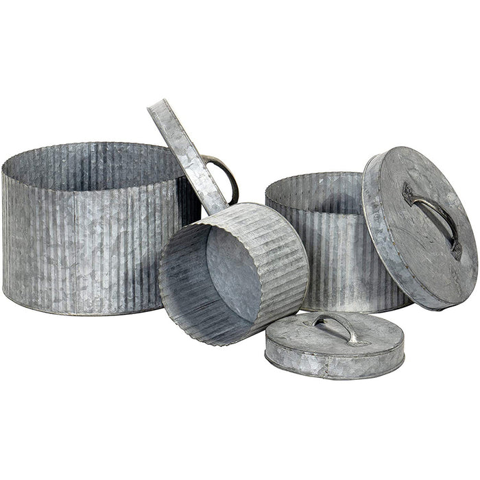 "Red Co. Rustic Style 3 Piece Galvanized Metal Nesting Canisters with Lids for Storage and Organization 10""x7"""