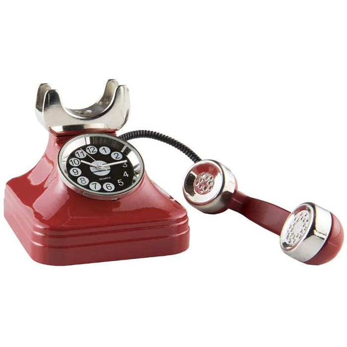 Red Co. Miniature Vintage Telephone, Novelty Desk Table Desktop Collectors Clock - 4""