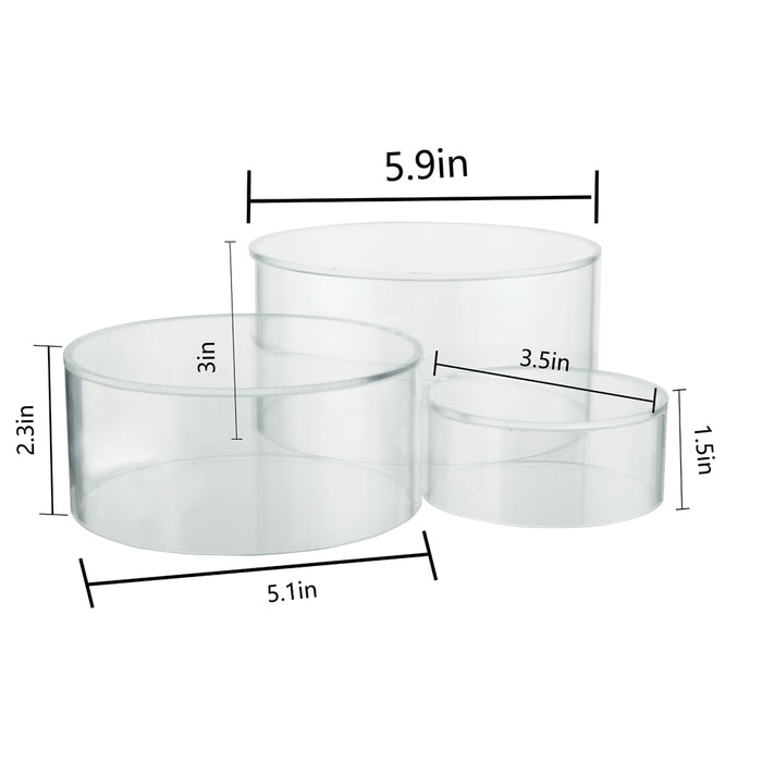 Red Co. Crystal Clear Acrylic Round Cylinder Display Nesting Riser Stands with Hollow Bottoms | Transparent - 3-Pack