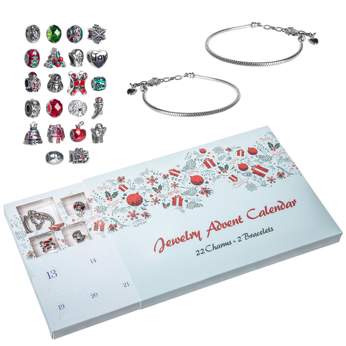 Red Co. Christmas Advent Charm Calendar with 2 Bracelets & 22 Unique Charms Jewelry Set - 24 Gifts Total Present for Daughter, Niece, Granddaughter
