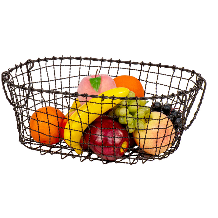 Red Co. Oval Black Metal Fruit Basket Multi Purpose Kitchen Home Organizer Bin with Handles