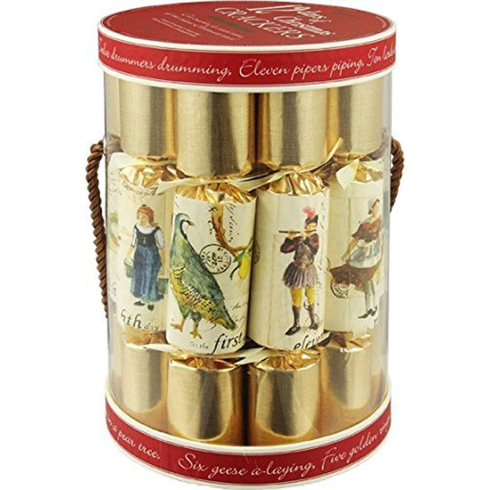 Robin Reed English Holiday Christmas Crackers, Pack of 12 - 12 Days of Christmas