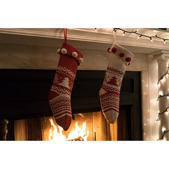 Knitted Christmas Stockings Traditional Holiday Season Santa Socks Classic Sweater Pattern Scandinavian Decoration for Mantel & Staircase Gift Holder - Set of 2