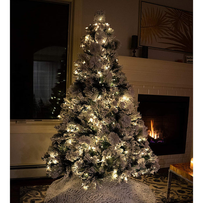 Red Co. Flocked Snowy Artificial Christmas Tree with UL Warm White LED Lights with Metal Stand