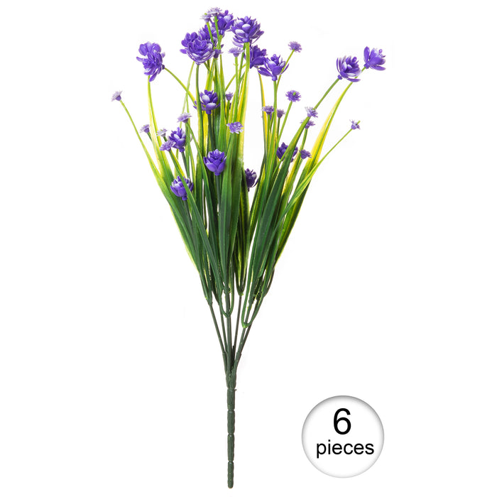 Red Co. Faux Floral Grass Bouquet, Artificial Fake Greenery Flowers for Home and Outdoor Garden Decor, 6 Single Picks