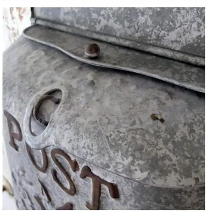 Rustic Galvanized Metal Post Mailbox - Country Style