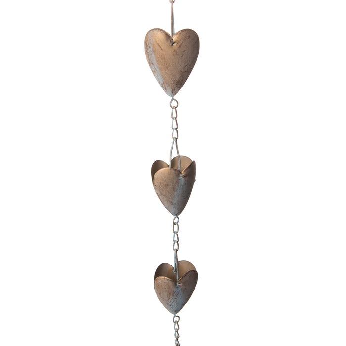 Red Co. Beautiful Decorative Heart Shaped Metal Rain Chain, Iron Rain Catcher Ornament, Gold Patina Finish, 4.25 Feet