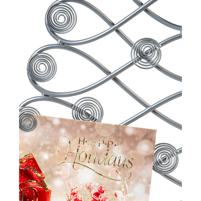 Red Co. Christmas Card & Photo Holder, Tabletop Tree Display Decorative Rack in Silver Finish