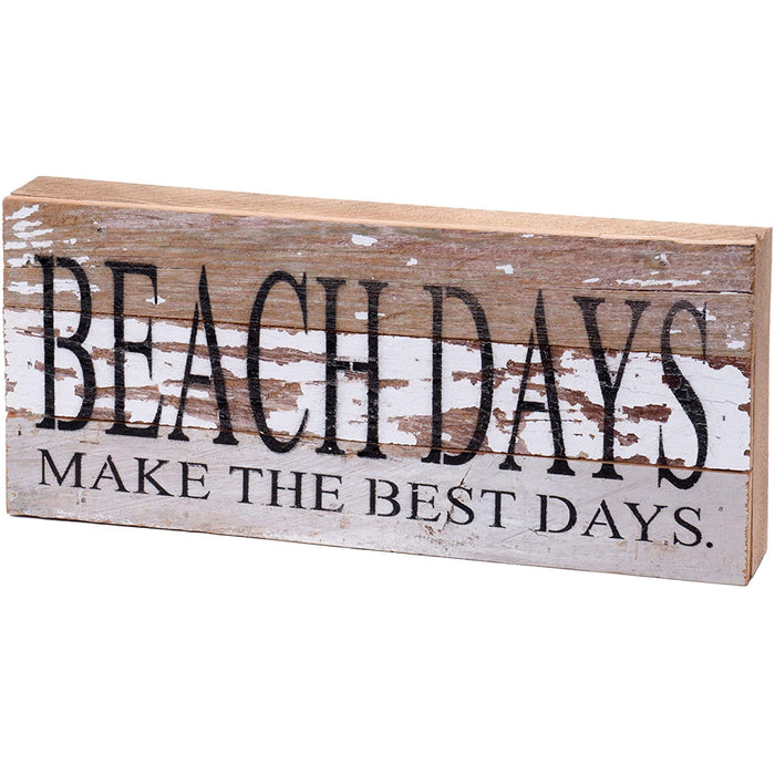 Second Nature By Hand 14x6 Inch Reclaimed Wood Art, Handcrafted Decorative Wall Plaque — Beach Days Make The Best Days