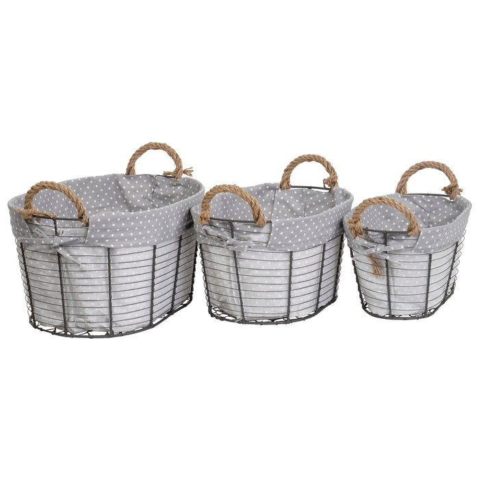 Red Co. Multi-Purpose Nesting Wire Metal Basket with Liners and Rope Handles Set of 3, Storage Containers, Home Organizers
